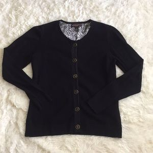 Dana Buchman classic black cardigan sweater